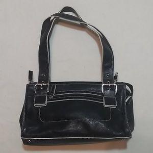 Fossil Black/White Leather Shoulder Bag Purse